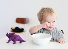 purple dinosaur with cute kid!