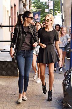 double trouble. #KendallJenner & #HaileyBaldwin in NYC.