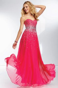 2014 A Line Sweetheart Beaded Bodice Low Back Chiffon Skirt