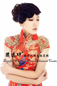 De Yi Fang Chinese private and exclusive custom wedding dress long dress cheongsam wedding toast clothing dragon costumes from taobao