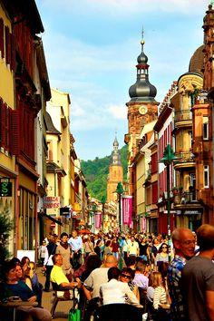The long main street in Heidelberg, Germany, April 2014