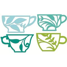 Silhouette Design Store: 4 flourished tea cup set