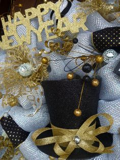 This is a very large and sparkly wreath to welcome your party guests on New Year's Eve! It is made with deluxe deco mesh and features a glitter hat, a 2014 sign, a Happy New Year sign and lots of New Year's sparkle! Happy New Year 2016, New Year 2014, New Years Eve Day, New Years Party, New Year's Eve Celebrations, New Year Celebration, Nye Party, Party Time, Holiday Wreaths