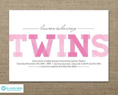 Twins Baby Shower - Twins Baby Shower Invitation - Twin Girls Invitation -  Printable Baby Shower - Twins Printable - Pink - Boy - Girl via Etsy