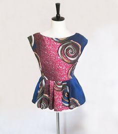 Blue Red & White African Rose Print Peplum Blouse by BrookandEnvy
