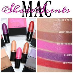 MAC Shadescents Lipstick Swatches in Ruby Woo, Heroine, Candy Yum Yum, Velvet Teddy and Creme d'Nude