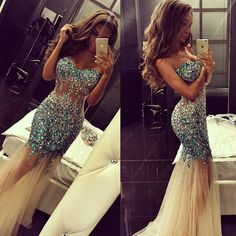 Sparkly Artificial Rhinestone Beaded Mermaid Prom Dress Champagne Tulle Long Evening Dress