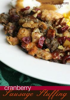 This Cranberry Sausage Stuffing is the best stuffing ever! It is a sweet and savory stuffing that is always a Thanksgiving favorite! Stuffing Recipes For Thanksgiving, Thanksgiving Side Dishes, Thanksgiving Ideas, Italian Thanksgiving, Thanksgiving Baking, Thanksgiving Leftovers, Thanksgiving Appetizers, Fall Recipes, Dinner Recipes