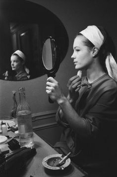 Portrait of Romy Schneider during rehearsal for the play Dommage qu'elle soit une putain to John Ford,  directed Luchino Visconti at the Theatre de Paris in 1961. Photo by Maurice Jarnoux