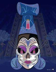 """Yzma"" Print Día de Muertos Disney Villain from Emperor's New Groove Below is the character and their eye symbols. Yzma – Her potions that can change people sometimes into llamas  ""Kronk, pull the lever. WRONG LEVER!!!"""