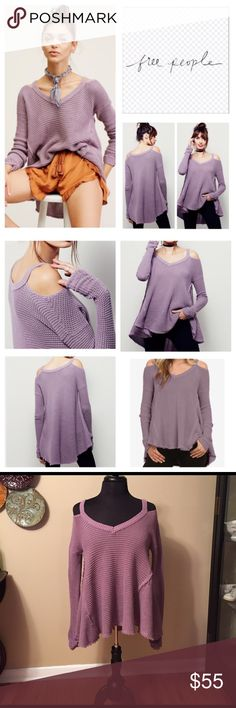 Free People V Neck Moonshine XSmall Free People Moonshine Sweater. V Neck Pullover in Lilac. Honeycomb Textured cold shoulder sweater with unfinished trim and a ribbed v Neckline. Oversized . White tag is with Sweater but I just caught in my bracelet. It will be with the Sweater. NWOT . Please ask all questions prior to buying. Trading.  Low Balling. Free People Sweaters V-Necks