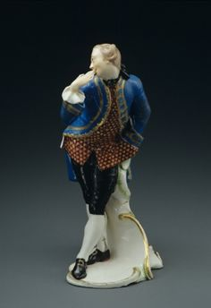 Octavio aus der Commedia dell'arte Franz Anton Bustelli Porzellanmanufaktur Neudeck/Nymphenburg, 1760 Hartporzellan, bemalt, vergoldet 19,2 cm Inv.-Nr. 77/51