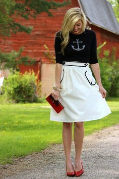 Anchor sweater and nautical skirt--- Pin Up Perfect!!:: Vintage Fashion:: Retro Style:: Anchor sweater:: Nautical Style