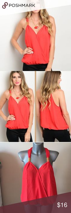 "NEW Red tank top ♥ NWT light weight red tank top! Super cute and flattering! Sizes S and M available!  100% polyester L: 26"" B: 34"" W: 34"". WinWin Apparel Tops Tank Tops"