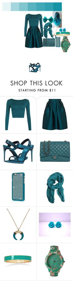 """Teal Date"" by ravenwolf123 ❤ liked on Polyvore featuring WearAll, Paper London, Burberry, Chanel, BaubleBar, BillyTheTree, Olivia Pratt and claire's"