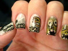 The Walking Dead nails! wish I had the patience to do this Walking Dead Nails, The Walking Dead, Crazy Nail Designs, Nail Art Designs, Love Nails, Fun Nails, Easy Nails, Pretty Nails, Zombie Nails
