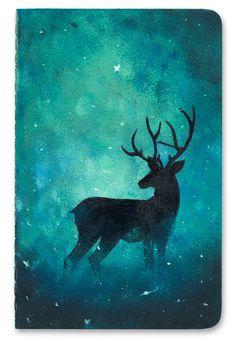 Deer in Forest Notebook Cover Portfolio, Gouache, Deer, Moose Art, Notebook, Watercolor, Night, Illustration, Blue