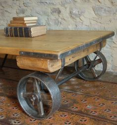 Small Reclaimed Pine Cart Coffee Table