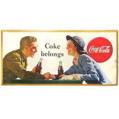 Coca-Cola Lithograph Sign of Soldier & Dame, C. 1946