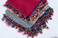 Turkısh Oya Trımmed Square Scarf / Shawl Red by Pllowcoversetc, $49.00