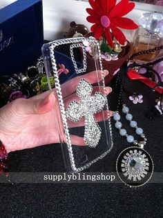 New Bling Sparkles Cute Alloy Silver Cross Sparkly Chic Gems Rhinestones Diamonds Gemstones Fashion Lovely Hard Cover Case for Mobile Phones