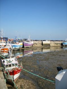 Roscoff Harbour at low tide.  Brittany, France