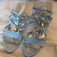 ****Strappy Blue jeweled sandal stilettos ****** DIAMOND JEWEL COUTURE ........NEVER WORN Perfect for that spring fling, Easter best, prom queen style. Narrow style can fit 9.5-10m Pierre dumas Shoes