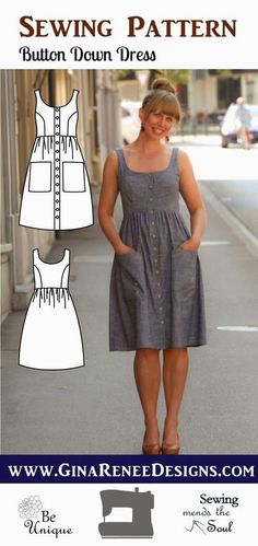 Love Button Down Dress Pattern; Midi Dress Pattern , Button Down Dress Pattern; Midi Dress Pattern Stylish and Sophisticated Button down dress pattern, Midi dress pattern by Gina Renee Designs. What a lo. Easy Sewing Projects, Sewing Projects For Beginners, Sewing Hacks, Sewing Tutorials, Sewing Tips, Sewing Blogs, Dress Tutorials, Knitting Projects, Sewing Crafts