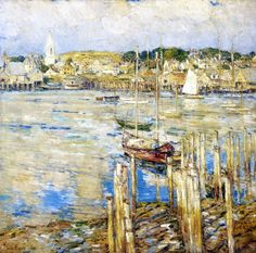 "Frederick Childe Hassam (1859-1935, United States) ~  ""Gloucester"", 1899 ~ Oil on Canvas 32""x32"" ~ Newark Museum (US)"