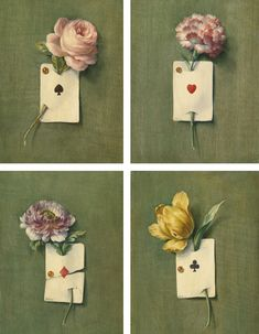 French School, 20th Century TROMPE L'OEIL STILL LIFES WITH FLOWER AND PLAYING CARDS: A SET OF FOUR