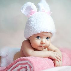 baby in bunny hat - hands crossed - pink and white - for more findings pls visit www.pinterest.com/escherpescarves/