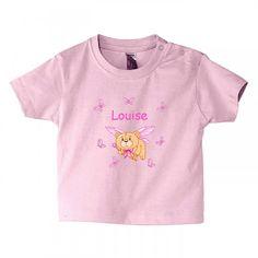 LAYETTE FILLE - #teeshirt #personnalisé au #prénom #enfant ourson + prénom , http://www.bebe-abord.com/tee-shirt-personnalise-fille/427-tee-shirt-original-ourson-et-papillon.html