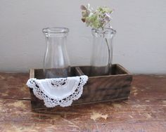 Pair of Vintage Milk Bottles Rustic by LittleKittenVintage on Etsy, $16.00