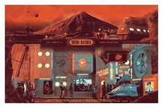 Artist Chris Skinner made this gorgeously detailed poster for a Cult Cinema Sunday screening of Total Recall. Best Movie Posters, Movie Poster Art, Cool Posters, Insane Movie, Peace In The Valley, Composition, Total Recall, Vacation Memories, Branding