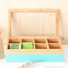 Caja de madera para bolsitas de té - Color turquesa