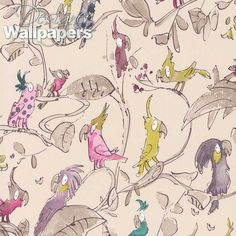 Cockatoos wallpaper by Quentin Blake for Osborne & Little. Beige Wallpaper, Colorful Wallpaper, Osborne And Little Wallpaper, Quentin Blake Wallpaper, Quentin Blake Illustrations, Wallpaper Online, Wallpaper Samples, Roald Dahl, Cockatoo