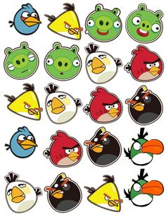 Angry bird clipart can be used for a verioty of party ideas from stickers,cupcake toppers gift wrapping images,trading cards ect...: