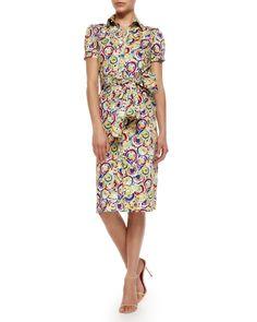 Carolina Herrera Belted Printed Stretch-Cotton Shirtdress