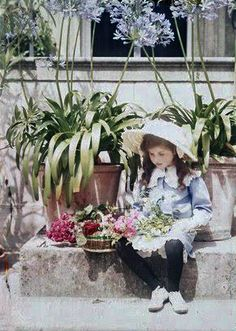 Iris Laing c. 1910, England.  Autochrome photo.  All taken by the mother, an artist and photographer