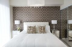 Love the look of this dark patterned wallpaper with light walls.  It's dramatic but still light. Could be recreated with a stencil to be more affordable. Classic & contemporary at the same time!