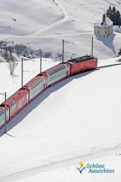 Glacier-Express… Herzlich Willkommen an Bord des langsamsten Schnellzugs der Welt! Der Winter kann kommen! (c) Glacier-Express