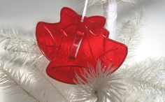 Vintage Christmas Bells Cookie Cutter or Christmas Ornament Red Plastic 1950s 1960s. $4.00, via Etsy.