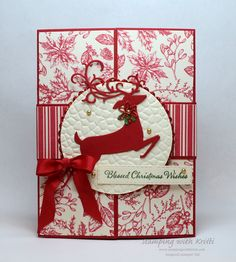 Stampin 'Up! Toile Tidings and Dashing Deer Card for the Happy Inkin 'Thursday B . Homemade Christmas Cards, Stampin Up Christmas, Christmas Cards To Make, Christmas Deer, Christmas Greeting Cards, Christmas Greetings, Greeting Cards Handmade, Homemade Cards, Handmade Christmas