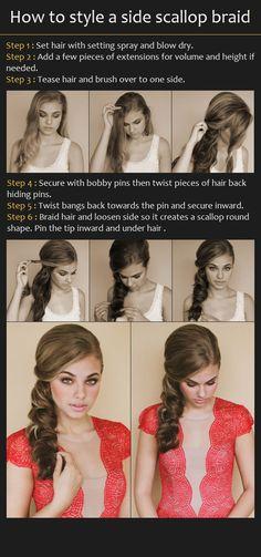 Hairstyle Tutorial - ponytail - formal - party - casual - braid - side braid - sleek - side part - Side Scallop Braid