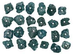 2.90 Ct Natural Loose Diamond Rough Drilling Bead Blue Color 24 Pcs L8597