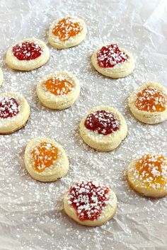 So pretty! Polish Kolachki Cookies from Craving Something Healthy--made with Greek Cream Cheese.