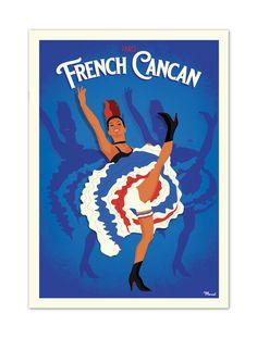 """€25 . Affiche Illustration Originale PARIS """"French Cancan"""" . Papier 350g/m² Couché Mat"""