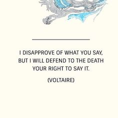 A quote often misattributed to Voltaire but is actually S. G. Tallentyres interpretation of Voltaire's thoughts. -- Freedom of speech is often a thorny subject to discuss because there are some points of view that each of us find so objectionable. However rights are only secure if they are immutable and apply to everyone. The next time you see a petition or social media campaign to have a person banned from speaking their views consider this quote. -- #quote #philosophy  #Voltaire #rights…