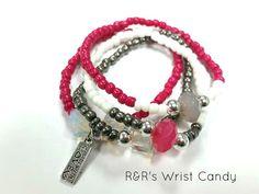 PinkGreyWhite Beaded Bracelet Set by RandRsWristCandy on Etsy, $8.00