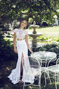 Silla - кроп-топ свадебное платье из кружева и шифон-стрейча